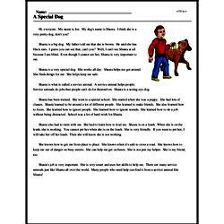Print <i>A Special Dog</i> reading comprehension.