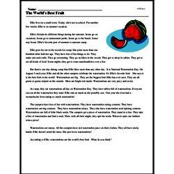 Print <i>The World's Best Fruit</i> reading comprehension.