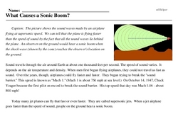 Print <i>What Causes a Sonic Boom?</i> reading comprehension.