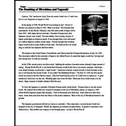 Print <i>The Bombing of Hiroshima and Nagasaki</i> reading comprehension.