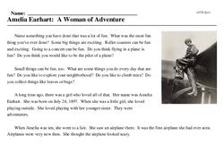 Print <i>Amelia Earhart: A Woman of Adventure</i> reading comprehension.