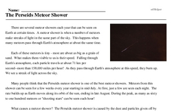Print <i>The Perseids Meteor Shower</i> reading comprehension.
