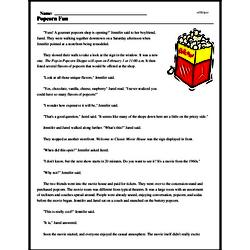 Print <i>Popcorn Fun</i> reading comprehension.