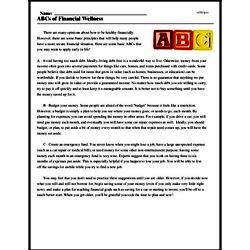 Print <i>ABCs of Financial Wellness</i> reading comprehension.