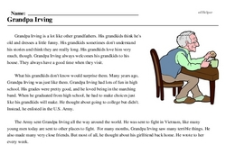 Print <i>Grandpa Irving</i> reading comprehension.