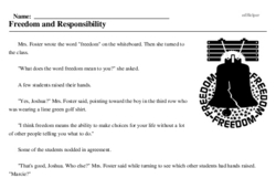 Print <i>Freedom and Responsibility</i> reading comprehension.