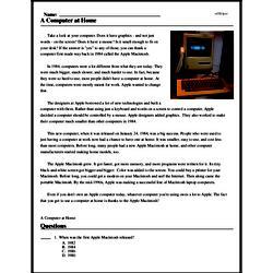 Print <i>A Computer at Home</i> reading comprehension.