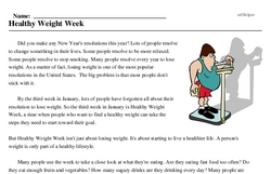 Print <i>Healthy Weight Week</i> reading comprehension.