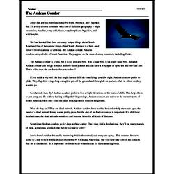 Print <i>The Andean Condor</i> reading comprehension.