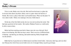 Print <i>Hailey's Dream</i> reading comprehension.