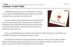Print <i>Academy Awards Night</i> reading comprehension.