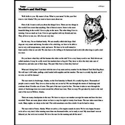 Print <i>Mushers and Sled Dogs</i> reading comprehension.