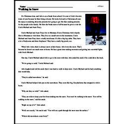 Print <i>Walking in Snow</i> reading comprehension.