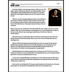 Print <i>Hank Aaron</i> reading comprehension.