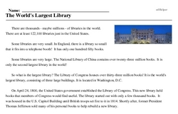 Print <i>The World's Largest Library</i> reading comprehension.