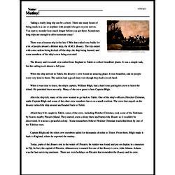 Print <i>Mutiny!</i> reading comprehension.