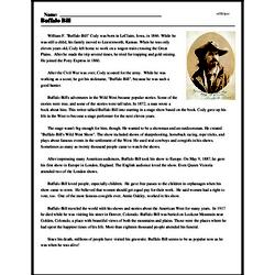 Print <i>Buffalo Bill</i> reading comprehension.