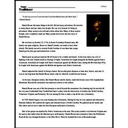 Print <i>Trailblazer</i> reading comprehension.