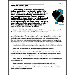 Print <i>The Great Pecan Caper</i> reading comprehension.