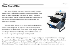 Print <i>Name Yourself Day</i> reading comprehension.