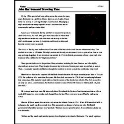 Print <i>John Harrison and Traveling Time</i> reading comprehension.