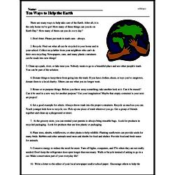 Print <i>Ten Ways to Help the Earth</i> reading comprehension.