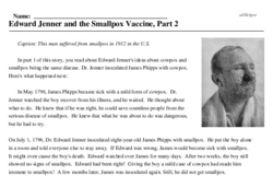 Print <i>Edward Jenner and the Smallpox Vaccine, Part 2</i> reading comprehension.
