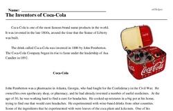 Print <i>The Inventors of Coca-Cola</i> reading comprehension.