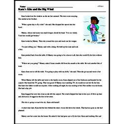 Print <i>Kara's Kite and the Big Wind</i> reading comprehension.