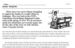 Print <i>Jonas' Surprise</i> reading comprehension.