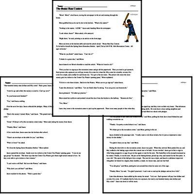 Print <i>The Home Run Contest</i> reading comprehension.