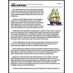 Print <i>Mutiny on the Bounty</i> reading comprehension.