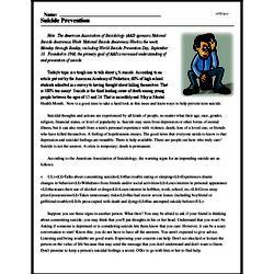 Print <i>Suicide Prevention</i> reading comprehension.