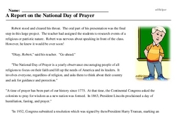 Print <i>A Report on the National Day of Prayer</i> reading comprehension.