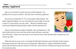 Print <i>Johnny Appleseed</i> reading comprehension.