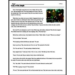 Print <i>Gary of the Jungle</i> reading comprehension.