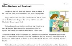 Print <i>Bikes, Boo-boos, and Band-Aids</i> reading comprehension.