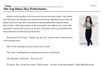 Print <i>The Tap Dance Day Performance</i> reading comprehension.