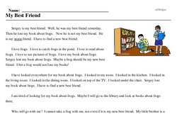 Print <i>My Best Friend</i> reading comprehension.