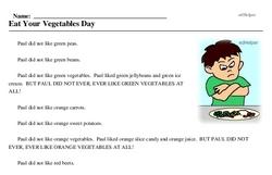 Print <i>Eat Your Vegetables Day</i> reading comprehension.