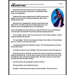 Print <i>Princess Pru's Party</i> reading comprehension.