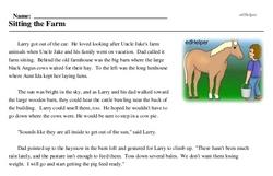 Print <i>Sitting the Farm</i> reading comprehension.