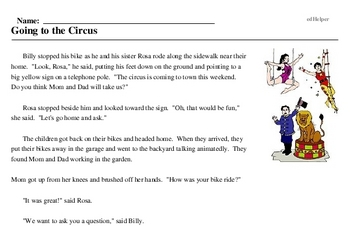 Print <i>Going to the Circus</i> reading comprehension.