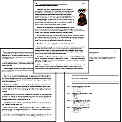 Print <i>World Eskimo-Indian Olympics</i> reading comprehension.
