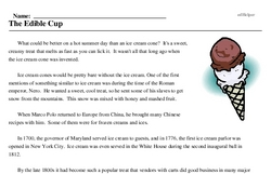 History of the Ice Cream Cone<BR>The Edible Cup