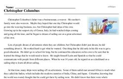 Print <i>Christopher Columbus</i> reading comprehension.