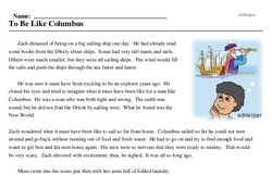 Print <i>To Be Like Columbus</i> reading comprehension.