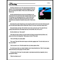 Print <i>Cow Pie Fling</i> reading comprehension.
