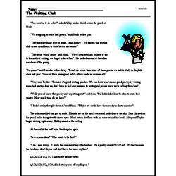 Print <i>The Writing Club</i> reading comprehension.