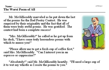 Print <i>The Worst Poem of All</i> reading comprehension.